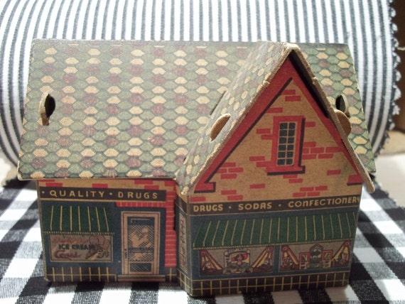 Vintage cardboard  toy house childrens model Buildrite  Drugstore