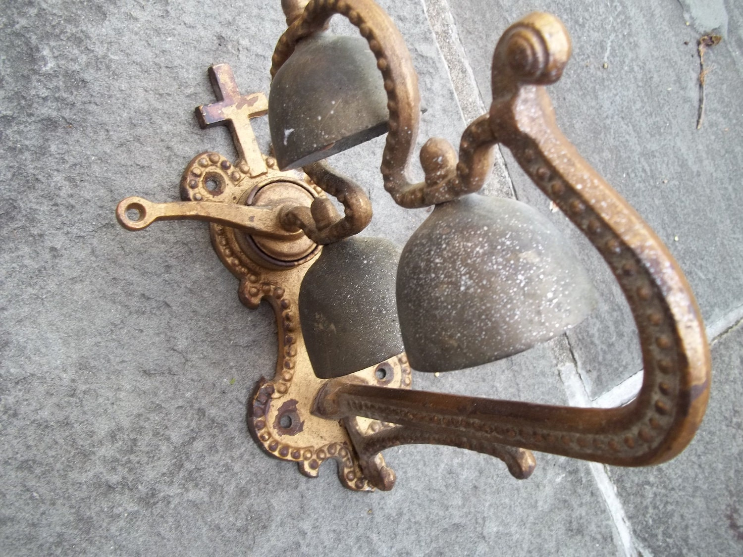 Antique French Brass Hanging Church Bells Door By