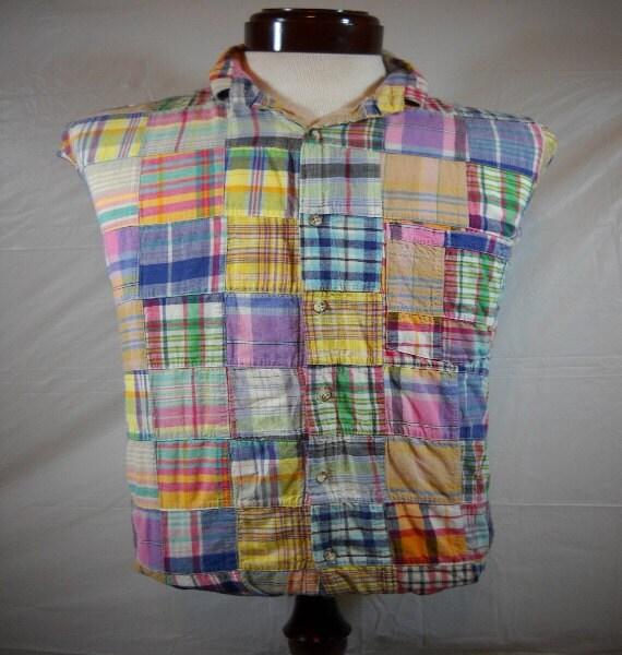 Vintage Mens Patchwork Madras Shirt by Orvis, Short Sleeve, Sz Large