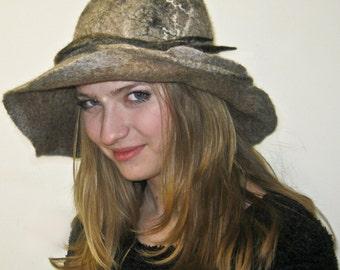 Hand Made Felted hat - Beige hat - Women hat