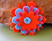 Orange, Pink and Blue Felt Flower Pin or Barrette