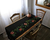 Reserved For Mini(Amira)  Vintage Handmade Table Runner,Vintage Hand Embroidered with 100% Organic Wool,