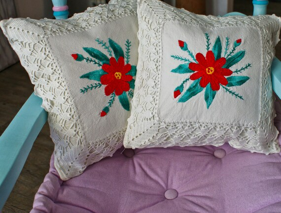 RESERVED FOR CAPRICE,Set Of Two,Decorative Hand Embroidered Pillows,  Linen / Cotton Pillows, Handmade Lace Pillows, Floral Pattern Pillow
