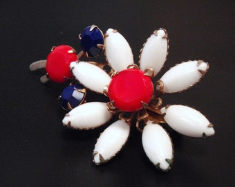 SALE Super 60s Red White and Blue Flower Power Patriot Pin Brooch