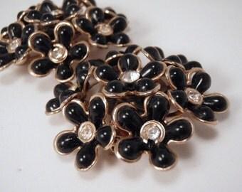 Black Plastic Flowers with Rhinestones 2 Piece Set Brooch pin