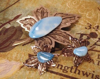 Maple Leaf Demi Parure Earring and Pin Brooch Set Silver Tone and Turquoise Stone