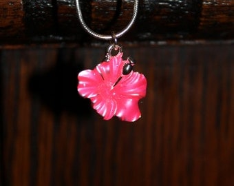 Pink Hybiscus Flower Necklace