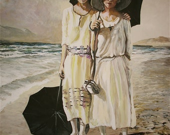 Mother and Daughter on beach, a print from and original acrylic painting