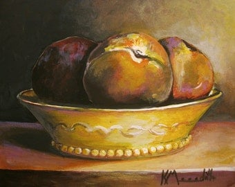 Three Peaches a print of an original acrylic painting