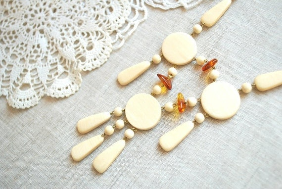 romantic birch wooden necklace, amber beads, nature, handmade, wood, woodland wedding, white necklace, bridal jewelry, mothers day gift