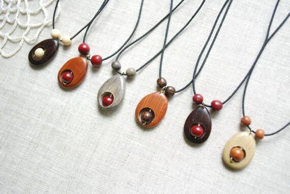 Tiny drops-Cute wooden pendants on an elastic cord-Pick two-Juniper,oak,birch,cherry