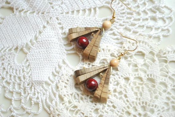 oak cherry wood earrings, burgundy red brown, rustic, nature, eco friendly, country, forest, woodland wedding, gift under 10, mothers day