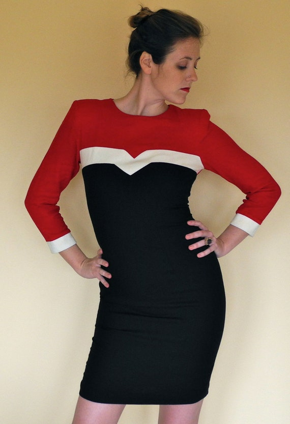 50% off-Red, Cream, and Black Fitted Dress
