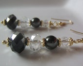 """Silver and Gold Earrings 2 5/8"""" hematite aurora clear black silver gold prom hooks bali beads wire wrapped elegant beads dangle faceted"""