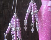 Pink Faux Pearl Earrings dangle silver spacer faceted crystal wire wrapped rectangular hooks pierced ears long round ladies