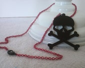 Skull and Crossbones Necklace - red