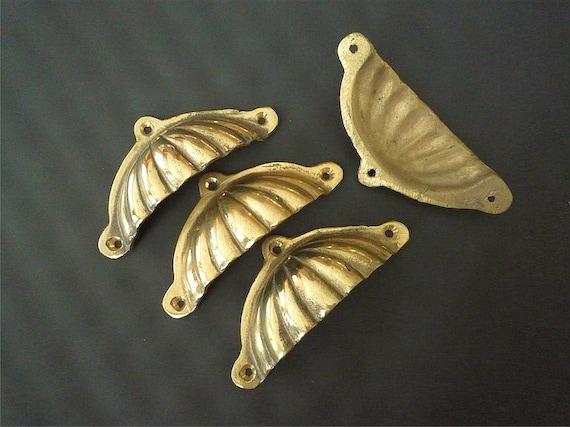 Vintage Brass Drawer Pulls,  Home Decor, Brass Plate, Door Knobs, Drawer Knobs, Door Pulls - Set of 4