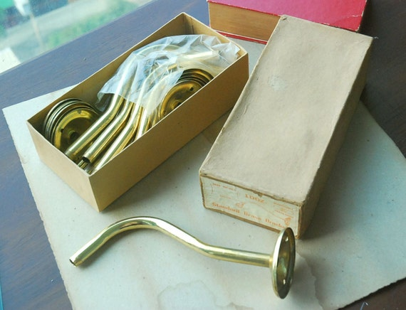 Vintage Brass Lamp Brackets: Set of 12