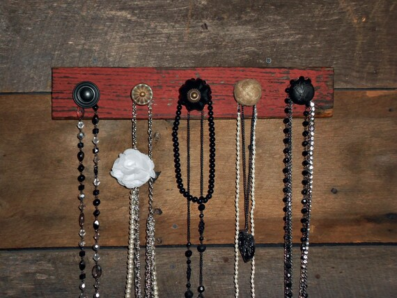 Rustic Necklace Holder on Red Barn Wood - 5 Black and Tan Knobs