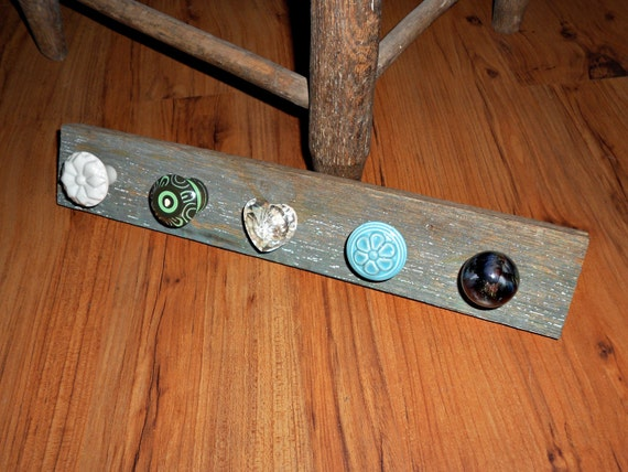 Hanging Necklace Holder on Reclaimed Wood - Shades of Blue and Green