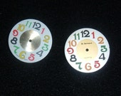 Watch Dial Earrings Made from Watch Dials with Colored Numbers