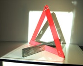 Vintage Emergency Road Sign Caution Triangle Metal