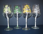 Handpainted Wine Glasses  The 4 Seasons/Aspen Trees