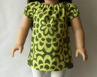 "American Girl 18"" doll Green Floral Tunic Dress"