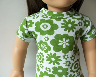 American Girl 18 inch doll Fitted Cotton Jersey T-Shirt Top - Green Retro Floral
