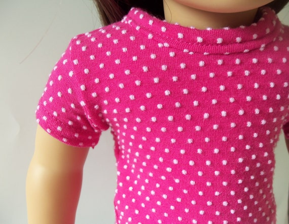 Basic Fitted T-Shirt for an American Girl or 18 inch doll - Dotted Hot Pink