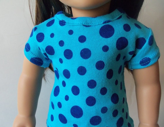 Basic Fitted T-Shirt for an American Girl or 18 inch doll - Blue Polka Dots