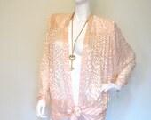 Vintage CUT Silk VELVET DRAPED Plunging Neckline Hip Tie Dress Jacket