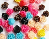 11mm flatback resin rose bead cabochons with glitter x 20, free combined shipping - Beadwaali