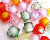 Multicolor cubes with a round bead inside, free combined shipping