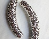 Curved tubular spacer bead, tibetan silver, nickel free, lead free, 66mm, free combined shipping