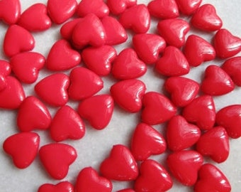 25 Valentine heart beads, red, acrylic, free combined shipping