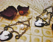 Vintage Pearl Cameo Chandelier Earrings