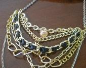 Black and Gold 6 Strand Repurposed Collar