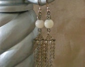 Recycled Pink and Silver Chandelier Earrings