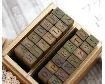 Wooden Rubber Stamp Box - Alphabet Stamps - Print Style - Capital Letters