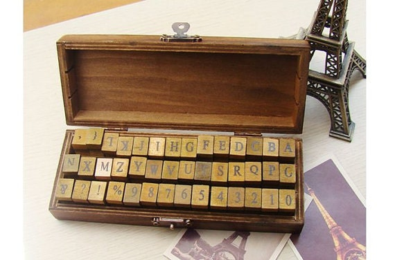 On Sale - Wooden Rubber Stamp Box - Vintage Print Style - Capital Alphabet Stamp and Number Stamp - 42 Pcs