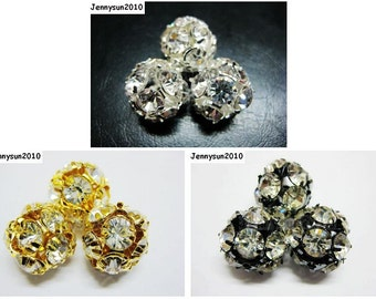 20pcs Crystal Rhinestones Pave Round Ball Spacer Beads Pick your Colors 14mm