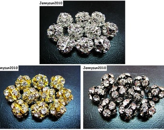 40pcs Crystal Rhinestones Pave Round Ball Spacer Beads Pick your Colors 12mm