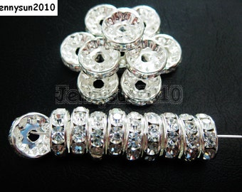 100pcs Top Quality Czech Crystal Rhinestones Clear on Silver Rondelle Spacer Beads 6mm