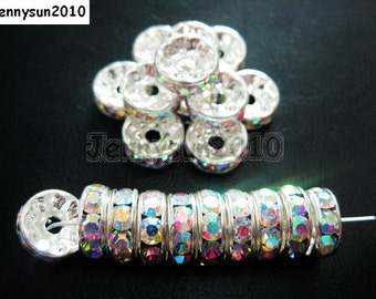 100pcs Top Quality Czech Crystal Rhinestones Clear AB on Silver Rondelle Spacer Beads 5mm