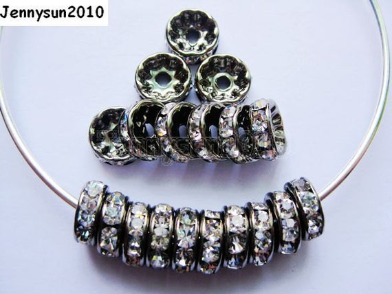 100pcs Top Quality Czech Crystal Rhinestones Clear on Gunmetal Rondelle Spacer Beads 10mm