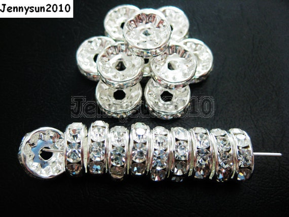 100pcs Top Quality Czech Crystal Rhinestones Clear on Silver Rondelle Spacer Beads 4mm