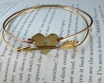 Gold Heart and Arrow Bangle Bracelet-Arrow Jewelry- Arrow Bangle- Gold Bangle- Intial Bangle- Stamped Jewelry
