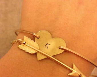 Arrow Bangle Bracelets- Heart Bangle Bracelet- Personalized Jewerly-Lovers Bracelet Set- Bridesmaids Gifts