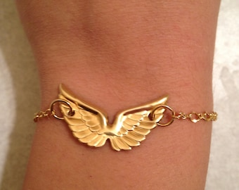 Gold Open Wing Bracelet